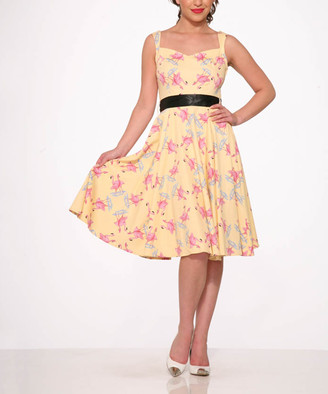 HEARTS & ROSES LONDON Women's Special Occasion Dresses Yellow - Yellow & Black Flamingo A-Line Dress - Women