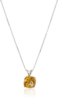 Amazon Collection 14k White Gold Cushion Checkerboard Cut Amethyst Pendant Necklace (8mm)