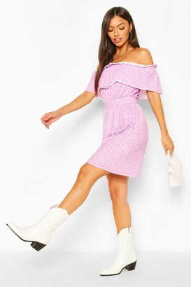 boohoo Polka Dot Off The Shoulder Skater Dress