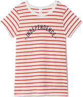 Alternative Apparel Ideal Tee in Red Riviera Stripe Independence, Small