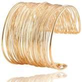Nana Wire Metal Coil Thin Cuff Bracelet (Gold)