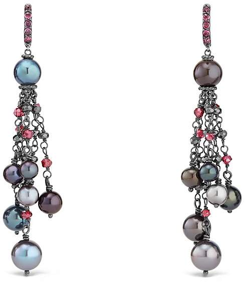 David Yurman Bijoux Cultured Gray Freshwater Pearl Fringe Earring with Rhodolite Garnet and Hematine