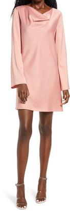 WAYF Lexie Cowl Neck Long Sleeve Shift Dress