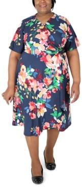 Robbie Bee Plus Size Printed Faux-Wrap Midi Dress