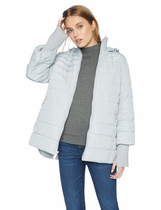 Kenneth Cole New York Kenneth Cole Women's mid Length Puffer Jacket with Hood and Knit Trimmed Cuff