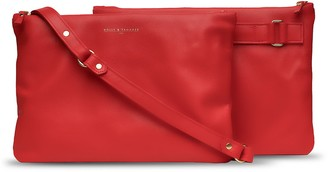 Holly & Tanager Companion Max Leather Crossbody Clutch In Red