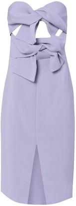 True Decadence Lavender Grey Strapless Bow Midi Dress
