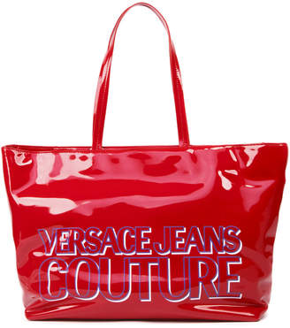 Versace Red Patent Tote With Logo