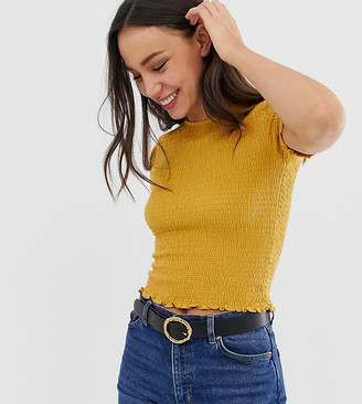 Asos Tall DESIGN Tall shirred fitted t-shirt with short sleeve-Yellow