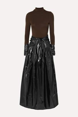 REJINA PYO Elena Stretch-jersey And Faux Leather Maxi Dress - Black