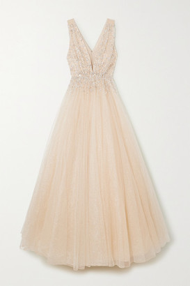 Jenny Packham Jeanne Embellished Glittered Tulle Gown - Gold