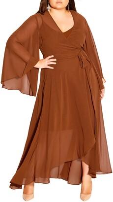 City Chic Fleetwood Long Sleeve Wrap Maxi Dress