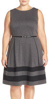 Taylor Border Stripe Ponte Fit & Flare Dress (Plus Size)