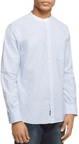 Todd Snyder Stripe Band Collar Regular Fit Button-Down Shirt