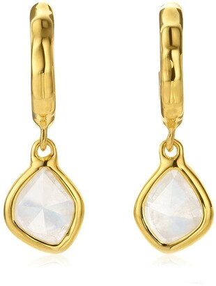 Monica Vinader Siren Mini Nugget Hoop Moonstone earrings