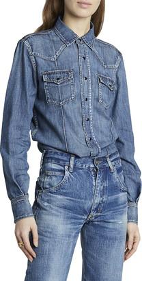 Saint Laurent Button-Down Denim Western Shirt