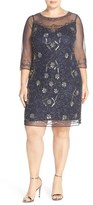 Pisarro Nights Plus Size Women's Illusion Neck Beaded Shift Dress