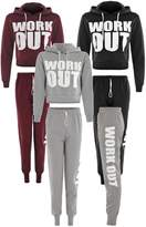 Cima Mode's Ladies Brooklyn 76 Work Out Cropped Hoody Sweatshirt Top and Joggers Pants Set size 4-12