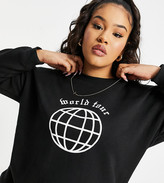 Thumbnail for your product : Lasula Plus oversized motif sweatshirt in black