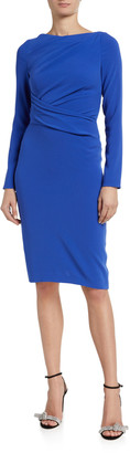 Talbot Runhof Ruched Crepe Long-Sleeve Bodycon Dress
