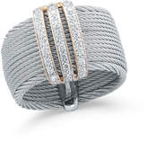 Alor Multi-Row Micro-Cable Pave Diamond Band Ring, Gray, Size 7