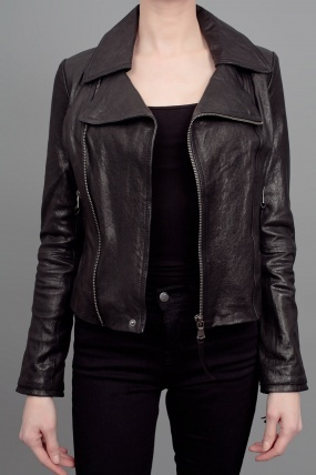 June Fitted Moto Leather Jacket Black