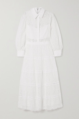 Alice + Olivia Anaya Tiered Lace And Tulle Midi Dress - Off-white