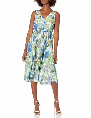 Maggy London Women's Printed Sleeveless Pleated Fit and Flare
