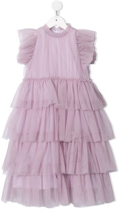Il Gufo Tulle Tiered Sleeveless Dress