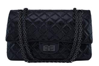 Chanel Reissue 2.55 Classic Double Flap So Black Quilted Glazed Medium Black