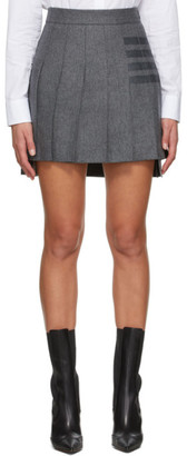 Thom Browne Grey Wool Flannel Pleated 4-Bar Skirt