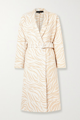 Sally LaPointe Belted Double-breasted Cotton-blend Zebra-jacquard Coat - Ivory
