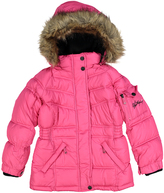 Weatherproof Fuchsia Pocket Faux-Fur Trim Hooded Puffer Coat - Toddler & Girls