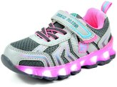Dream Pairs 160563-K Boys & Girls LED Flashing Light Up Kids Casual Shoes Sneakers Grey-Pink-Mint Size 13 Little Kid