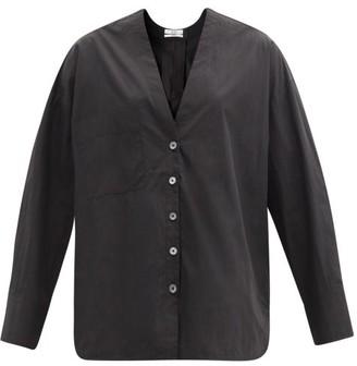 Co V-neck Cotton-blend Poplin Shirt - Black
