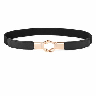 WERFORU Women Retro Skinny Elastic Belt Stretchy Thin Waist Belt for Dresses with Gold Metal Buckle 1Inch Wide(Suit for waist size 26-32Inch Black)