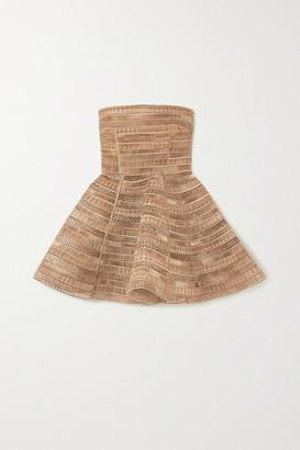 Dolce & Gabbana Strapless Woven Raffia Mini Dress - Gold