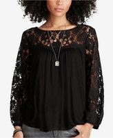 Denim & Supply Ralph Lauren Three-Quarter-Sleeve Lace Yoke Shirt