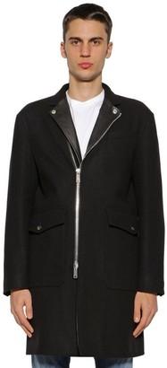 DSQUARED2 Zip-up Wool Blend Coat W/ Leather Lapels