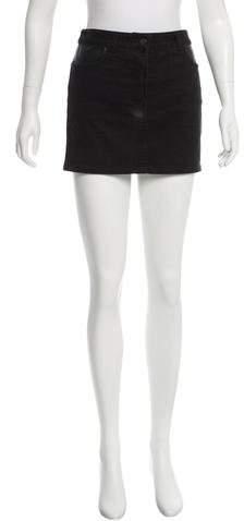 Alexander Wang Leather-Trimmed Denim Skirt
