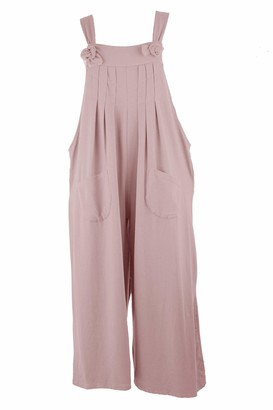 Texture Ladies Womens Italian Lagenlook Plain Pleat Detail Tie Knot Strap 2 Pocket Wide Leg Cotton Jersey Jumpsuit Dungarees Overalls One Size (Light Pink One Size)