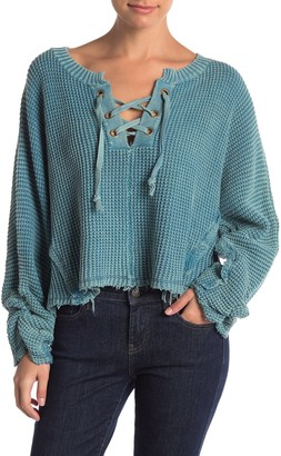 Vintage Havana Lace-Up Boxy Sweater