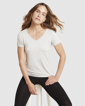 Boody Organic Bamboo Eco Wear - Women's Grey Basic T-Shirts - V-Neck T-Shirt - Size One Size, S at The Iconic