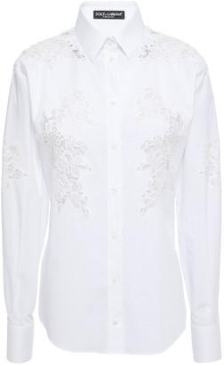 Dolce & Gabbana Lace-paneled Cotton-blend Poplin Shirt