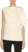 Marni Woven Button-Shoulder Top, White