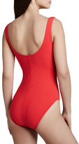 Karla Colletto Woven-Panel One-Piece V-Neck Swimsuit