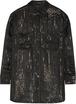 Equipment + Kate Moss Daddy metallic striped silk-chiffon shirt