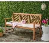 Safavieh Bradbury 3-Seat Outdoor Bench in Teak Brown/Beige
