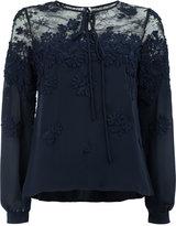 Oscar de la Renta floral embroidered lace panel blouse