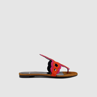Pierre Hardy Orange Two-Tone Contrast Disc Flat Sandals IT 38.5